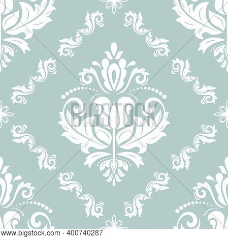 Classic Seamless Pattern. Damask Orient Ornament. Classic Vintage Background. Orient Light Blue And