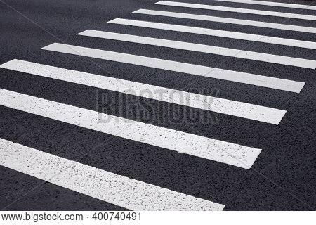 Zebra Crossing On The Asphalt, White Stripes, Pedestrian Crossing Markings, Safe Road Crossing