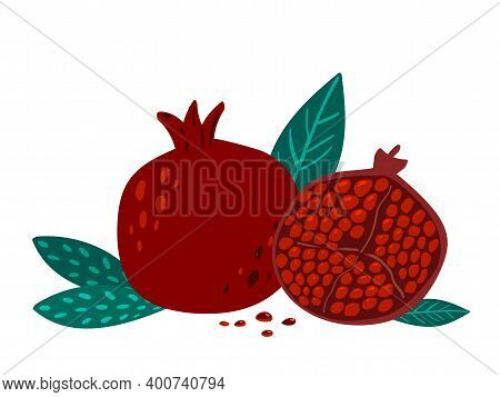 Hand Drawn Illustartion Of Pomegranate With Leaves And Seeds On White Background.