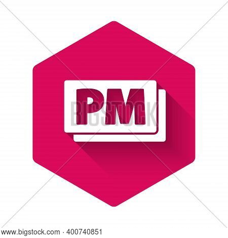 White Clock Pm Icon Isolated With Long Shadow. Time Symbol. Pink Hexagon Button. Vector