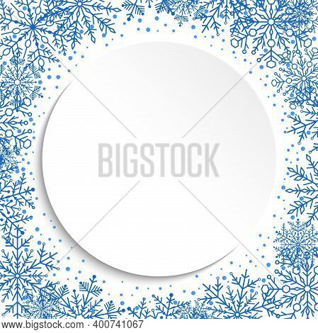 Nice Card For Holiday With Blue Arabesques And Snowflakes. Fine Greeting Card. Pattern With Snowflak