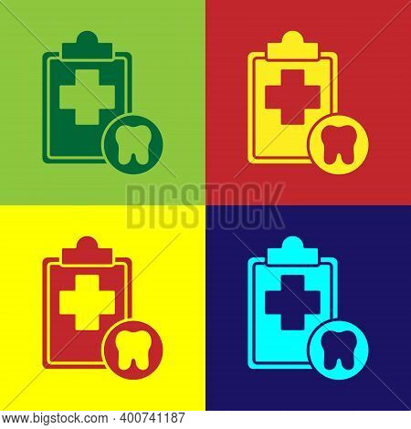 Pop Art Clipboard With Dental Card Or Patient Medical Records Icon Isolated On Color Background. Den