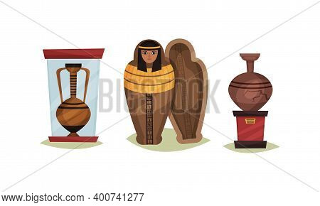 Museum Exhibit With Mummy Case And Vase Vector Set
