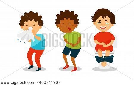 Sick Children Feeling Unwell And Suffering From Pain Vector Illustration Set