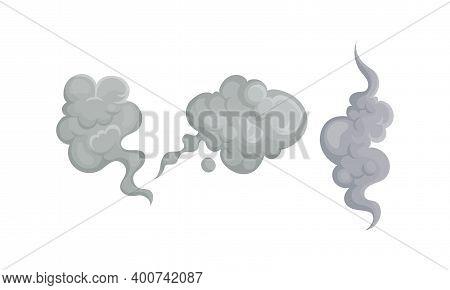 Grey Plumes Or Swirls Of Smoke Or Fog Vector Set