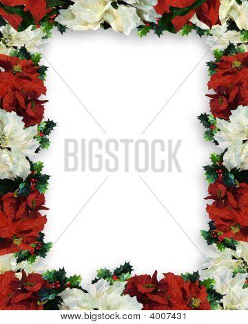 Christmas Border Frame Poinsettias Garland