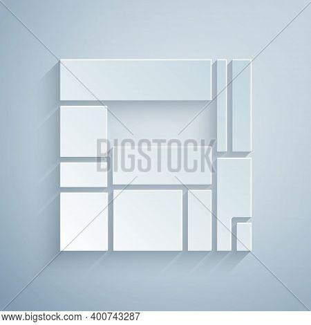 Paper Cut House Edificio Mirador Icon Isolated On Grey Background. Mirador Social Housing By Mvrdv A