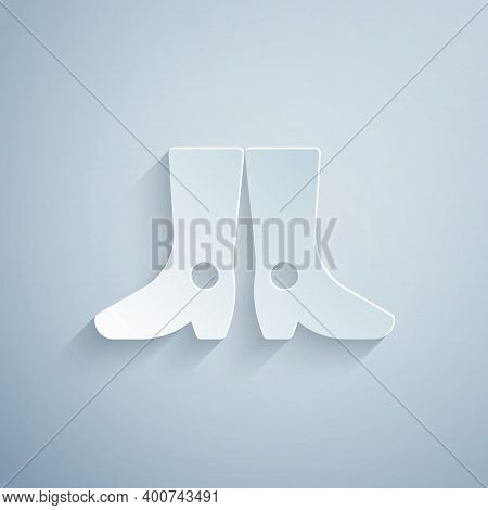 Paper Cut Ukrainian National Footwear Icon Isolated On Grey Background. Traditional Ethnic Boots. Pa