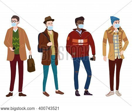 Set Young Mans Students In Modern Autumn Trendy Clothes. In Medical Mask, Individual Protection From