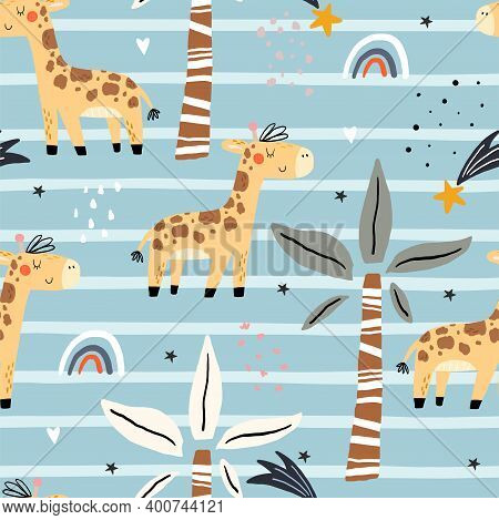 Cute Giraffe Pattern Print For Kids. Funny Cute Scandinavian Giraffe Cartoon Style. Printable Templa