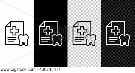 Set Line Clipboard With Dental Card Or Patient Medical Records Icon Isolated On Black And White Back
