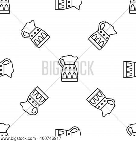 Grey Line Sangria Pitcher Icon Isolated Seamless Pattern On White Background. Traditional Spanish Dr