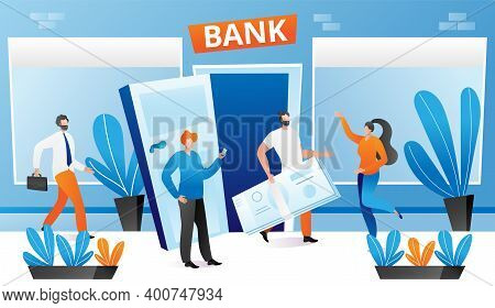 Bank People, Financial Currency Transaction, Vector Illustration. Cartoon Man Near Bank Building Hol