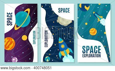 Space Exploration Cartoon Banner, Vector Illustration. Flight Rocket Across Galaxy, Modern Technolog