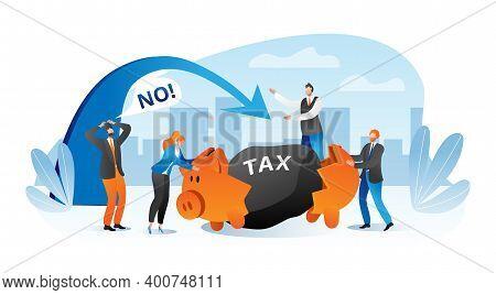 Business Person With Big Tax Finance Burden Concept, Vector Illustration. Cartoon Businessman Financ