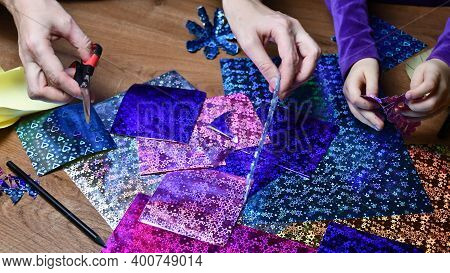 Craft Project Making Hands Of Woman And Toddler Kid Together. Crafting With Colorful Glittering Craf
