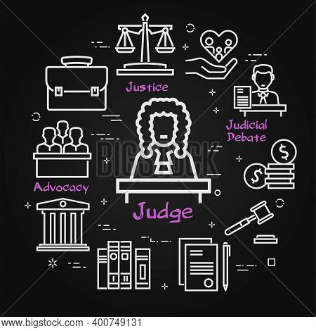 Vector Black Line Banner Of Legal Proceedings - Judge Icon
