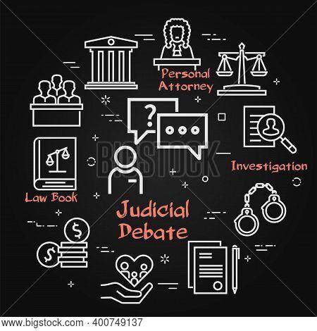 Vector Black Line Banner Of Legal Proceedings - Judicial Debate Icon