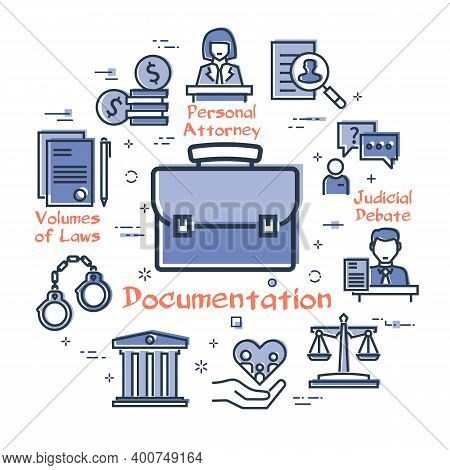 Vector Line Banner Of Legal Proceedings - Case Documentation Icon
