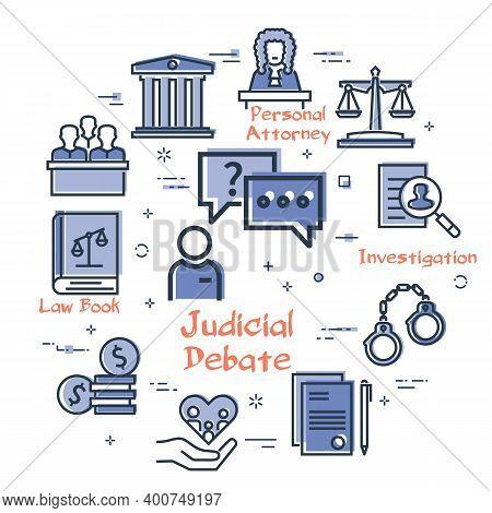 Vector Line Banner Of Legal Proceedings - Judicial Debate Icon