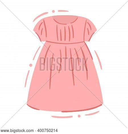 Casual Baby Girl Pink Dress With Fluffy Skirt - Isolated Vector Illustration. Cute Kids Dress. Casua
