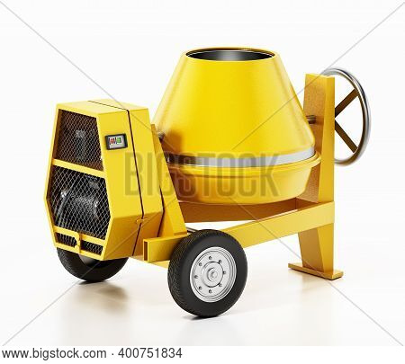 Cement Mixer Isolated On White Background. 3d Illustration.