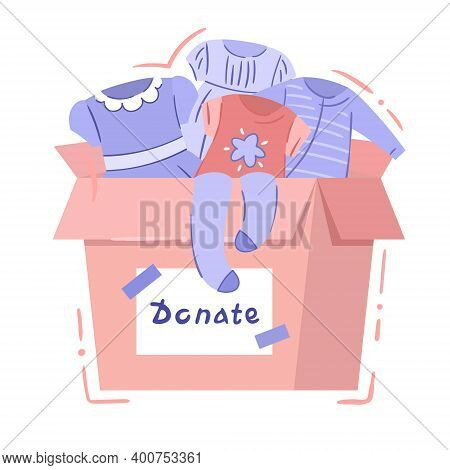 Charity Box With Baby Clothing - Isolated Vector Illustration In Hand Drawn Style. Card Box With Sig