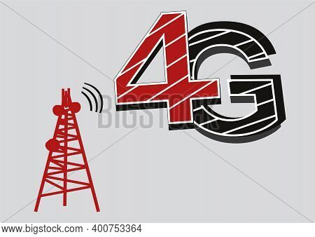 4g Network Tower Clip Art. 4g Network Icon, Isolated On White Background. 4g Internet, Vector Illust