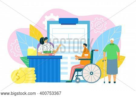 Financial Benefits With Document Form, Vector Illustration. Disability People Protection, Pension Fo