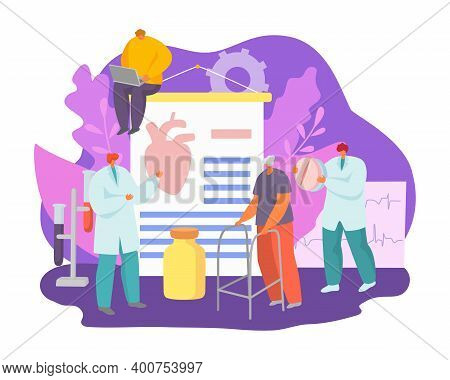 Health Treatment, Doctor Care About Patient Heart Attack With Medicine Concept Vector Illustration.