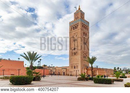 Koutoubia Mosque Minaret In Medina Quarter Of Marrakesh, Morocco