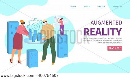 Augmented Reality In Digital Technology, People In Vr Glasses Concept Vector Illustration. Virtual R