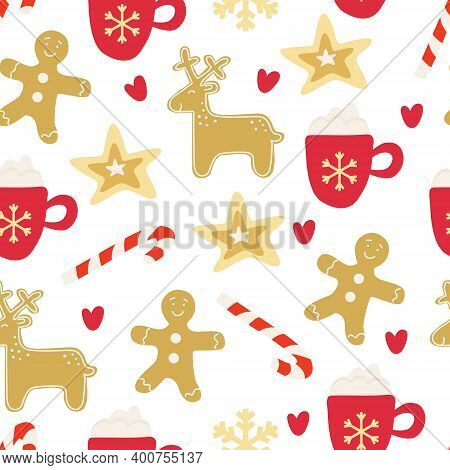 Vector Seamless Pattern With Xmas Gingerbread, Mug Of Cappuccino, Candy Cane On White Background. Br