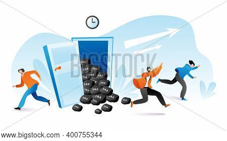 Time To Pay Tax, People Run Escape From Finance Problem Vector Illustration. Cartoon Man Woman Chara