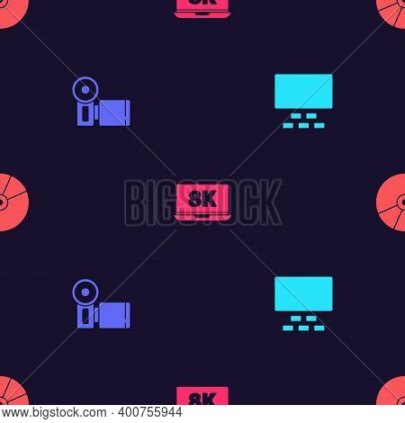 Set Cinema Auditorium With Seats, Camera, Laptop 8k And Cd Dvd Disk On Seamless Pattern. Vector