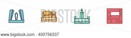 Set Gate Of Europe, Stadium Mestalla, Montjuic Castle And House Edificio Mirador Icon. Vector