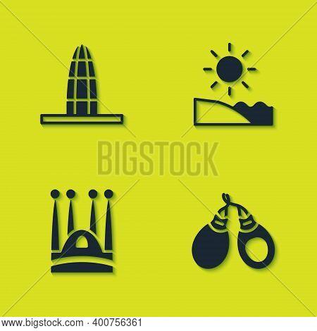 Set Agbar Tower, Castanets, Sagrada Familia And Beach Icon. Vector