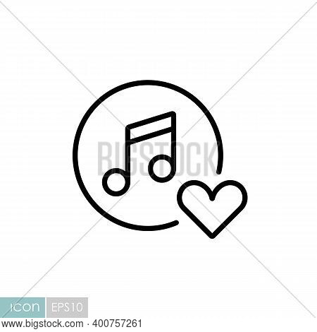 Musical Note Icon And Favorite, Like, Love, Care Symbol. Like Music Icon. Musical Note Icon, Music I