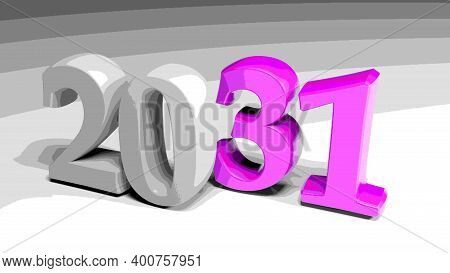 2031 Gray And Purple Write On Gray Background - 3d Rendering Illustration