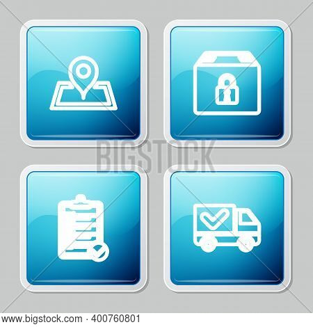 Set Line Placeholder On Map, Locked Package, Verification Of Delivery List And Delivery Truck With C