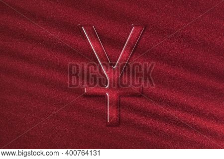 Japanese Yen, Jpy Yen Currency, Monetary Currency Symbol, Red Background