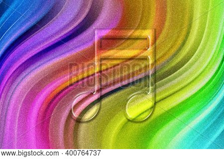Beamed Sixteenth Note Symbol, Music Background, Rainbow Glitter Background