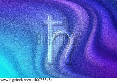 Symbol Of Saturn, Saturn Sign, Astrology Saturn Planet, Violet Violet Blue Background