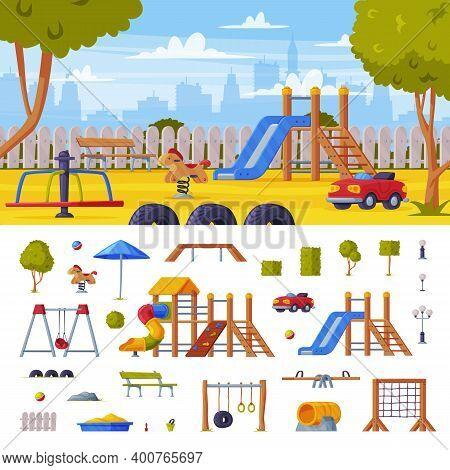 Colorful Cityscape With Kids Playground As Urban Summer Public Area For Playing And Equipment Vector