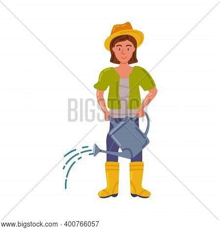 Woman Farmer With Watering Can, Female Agricultural Worker Gardener Character Working On Farm, Eco F
