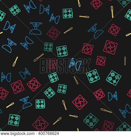 Set Line Electronic Scales, Gas Stove, Knife Sharpener And Ventilation On Seamless Pattern. Vector