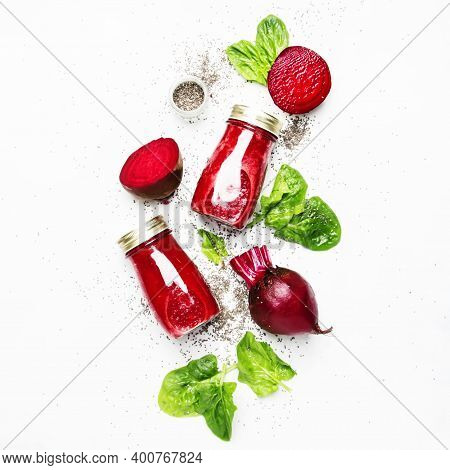 Beetroot Smoothies With Chia Seeds, Glass Bottles, Gray Background, Top View