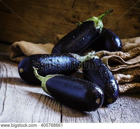 Fresh Eggplant, Canvas Bag, Selective Focus With Copy Space