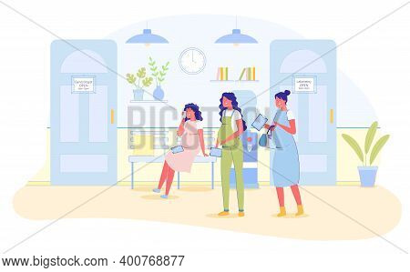 Pregnant Women Wait In Queue Or Line For Gynecologist Flat Cartoon Vector Illustration. Waiting For