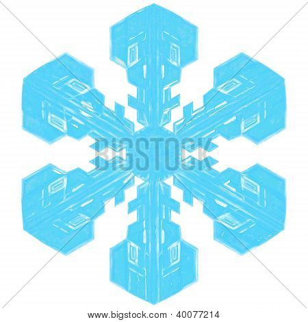 Detailed bluish 3d snowflake w/ alpha transparency